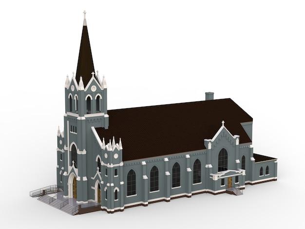 Le bâtiment de l'église catholique, des vues de différents côtés. illustration en trois dimensions sur fond blanc