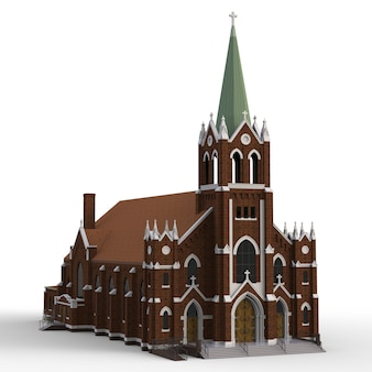 Le bâtiment de l'église catholique, des vues de différents côtés.