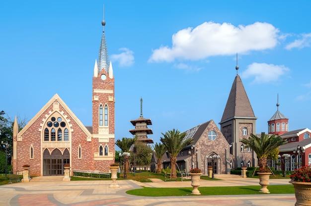 Le bâtiment de l'église sur l'île de haihua, hainan, chine