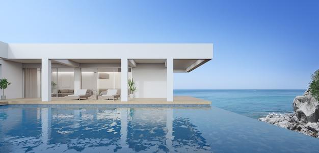 Bâtiment extérieur rendu 3d avec vue sur la mer