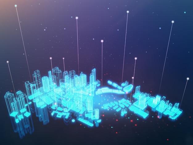 Bâtiment d'hologramme sur écran noir dans iot ou concept de ville intelligente