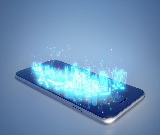 Bâtiment d'hologramme sur smartphone dans iot ou concept de ville intelligente