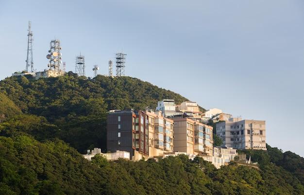 Bâtiment moderne, vue colline, depuis, pic victoria, hong kong