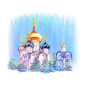 Bâtiment typique de l'église orthodoxe. image faite par des marqueurs