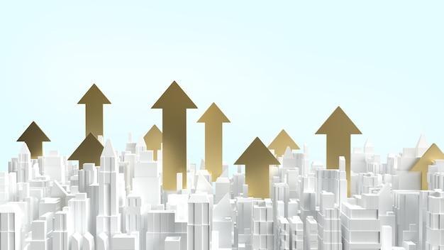 Le bâtiment de la ville blanche et la flèche d'or vers le haut pour le contenu de l'entreprise immobilière
