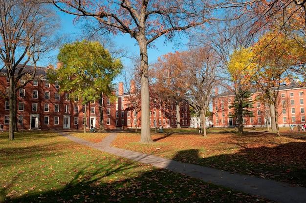 Bâtiments sur le campus de l'université harvard à boston, massachusetts, états-unis