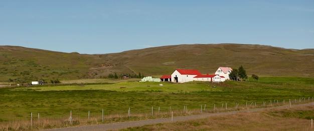 Bâtiments de ferme sur la colline avec des chevaux et des pâturages, sans nuages