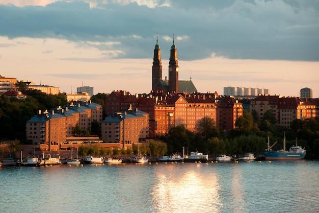 Bâtiments, front mer, stockholm, suède