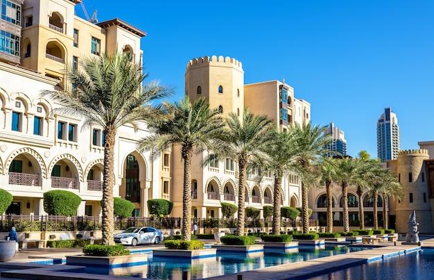 Bâtiments sur l'île de la vieille ville de dubaï, émirats arabes unis