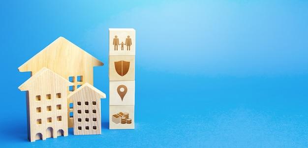 Bâtiments résidentiels et blocs avec les attributs de la vie. critères de choix d'un lieu de résidence
