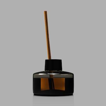 Bâtonnets aromatisants dans une bouteille en verre noir d'objet à savoir d'encens liquide aromatique