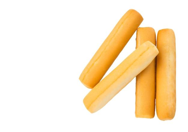 Bâtonnets de pain isolés sur fond blanc. avec chemin de détourage.