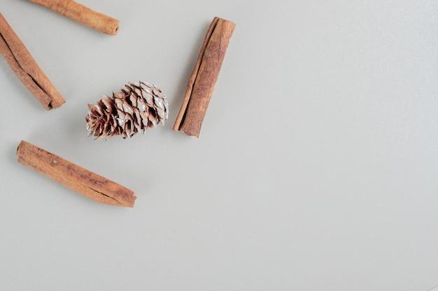 Bâtons de cannelle avec pommes de pin de noël.