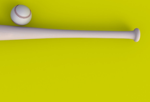 Batte de baseball isolé sur fond jaune, rendu 3d