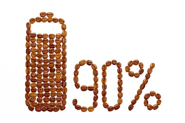 Batterie chargée à 90% de grains de café