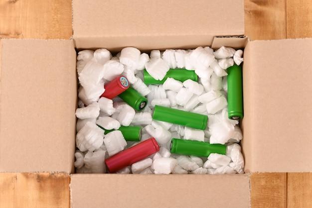 Batterie lithium-ion dans une boîte aux lettres en carton
