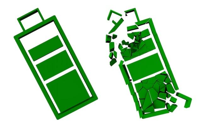 Batterie verte entière et brisée. appareils conviviaux. rendu 3d