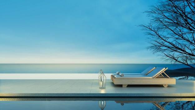 Beach lounge - villa sur la mer avec vue sur la mer pour les vacances et l'été