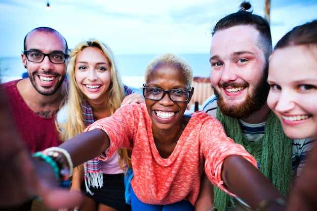 Beach summer party togetherness concept selfie