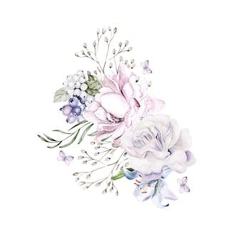 Beau bouquet d'aquarelle avec des fleurs de pivoine d'orchidées
