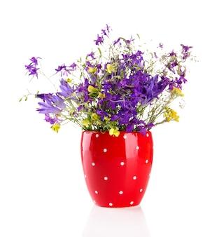 Beau bouquet de fleurs sauvages en coupe, isolé sur blanc