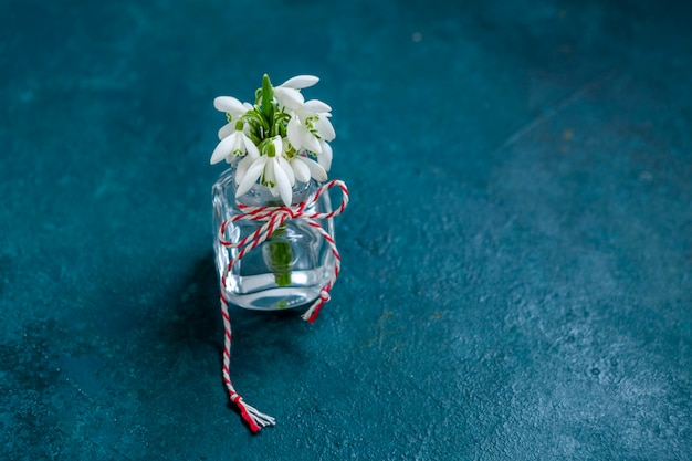 Beau bouquet frais des premières fleurs de perce-neige de la forêt de printemps avec un martisor à cordon rouge et blanc