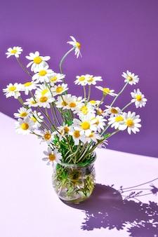 Beau bouquet de marguerites dans un vase en verre sur violet