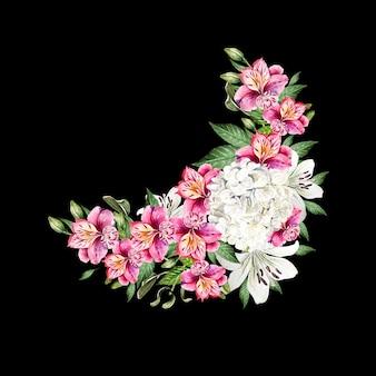 Beau bouquet de mariage à l'aquarelle avec des feuilles et des fleurs de lys, d'alstroemeria et d'hudrangea. illustration