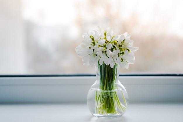 Beau bouquet de perce-neige dans un vase en verre près de la fenêtre sur le rebord de la fenêtre