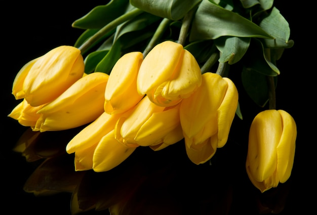 Beau bouquet de tulipes jaunes