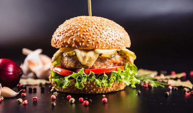 Beau burger sur une surface sombre