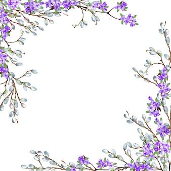 Beau cadre de coin opposé au printemps délicat de branches réalistes en saule et lilas. illustration aquarelle.