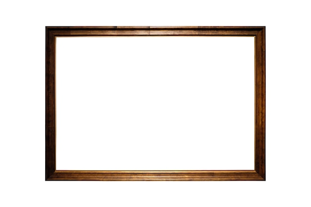 Beau cadre photo en bois isolé sur blanc