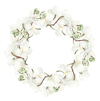 Beau cadre rond aquarelle avec des fleurs d'orchidées sur fond blanc