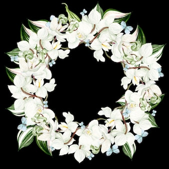 Beau cadre rond aquarelle avec des fleurs d'orchidées sur fond noir