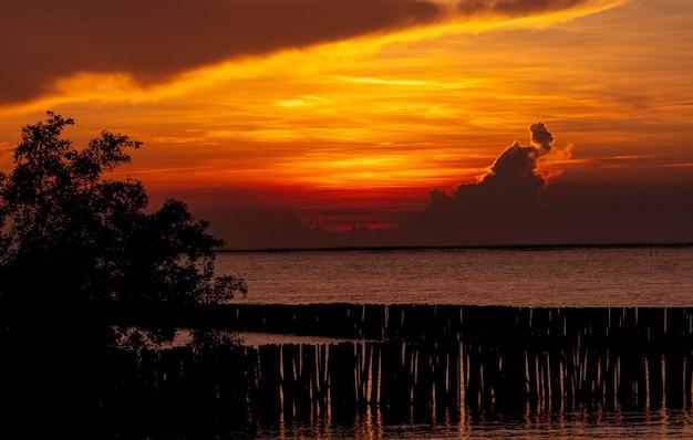 Beau ciel coucher de soleil rouge et orange sur la mer tropicale. ciel coucher de soleil rouge. horizon à la mer. mer tropicale. vue panoramique sur le ciel coucher de soleil. océan calme. paysage marin. photo d'art de la couche de nuages sur le ciel coucher de soleil.