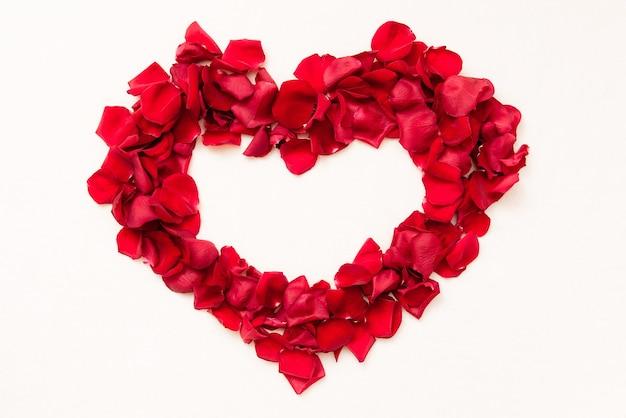 Beau coeur de pétales de roses rouges sur fond blanc