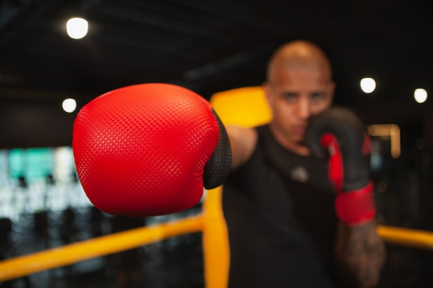 Beau combattant africain de boxe, formation au gymnase