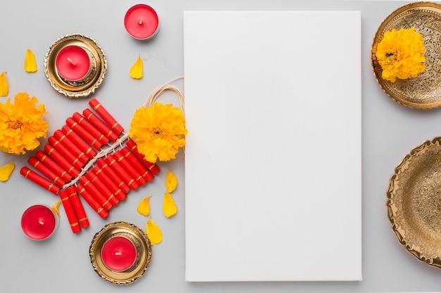 Beau concept de diwali avec espace copie
