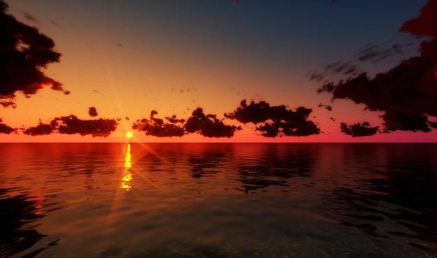 Beau coucher de soleil au dessus de la mer rendu 3d