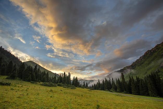 Beau coucher de soleil dans les montagnes