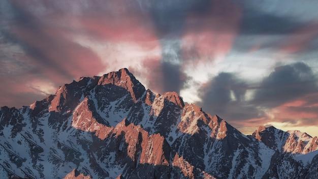 Beau coucher de soleil en montagne