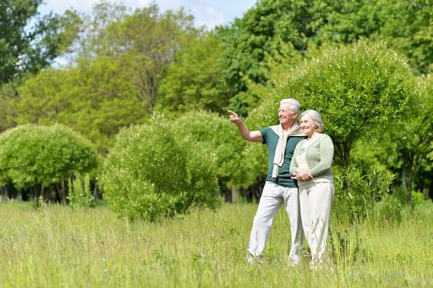 Beau couple d'âge mûr dans le parc du printemps, l'homme pointant par sa main