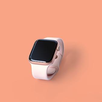 Beau design moderne montre intelligente isolée sur un mur de couleur pastel avec un tracé de détourage.