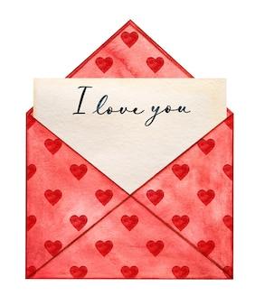 Beau dessin aquarelle d'une enveloppe postale et de coeurs.