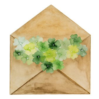 Beau dessin aquarelle d'une enveloppe postale avec un motif de trèfle. gros plan, pas de gens, texture. félicitations à vos proches, parents, amis et collègues