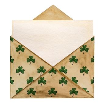 Beau dessin aquarelle d'une enveloppe postale avec un motif de trèfle.