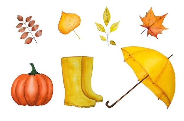 Beau dessin à l'aquarelle d'un parapluie et d'autres choses dont vous avez besoin à l'automne. gros plan, vue de dessus, pas de personnes