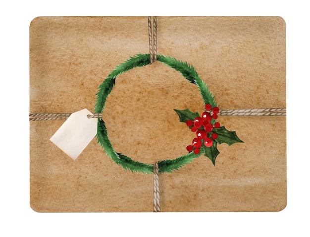 Beau dessin de boîtes avec des cadeaux. gros plan, pas de monde. peinture aquarelle. vue d'en-haut.