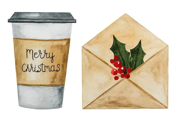 Beau dessin d'une enveloppe de courrier à l'aquarelle